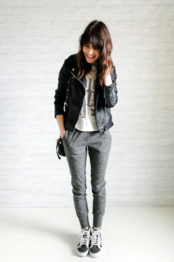 jogger pants and moto jackets