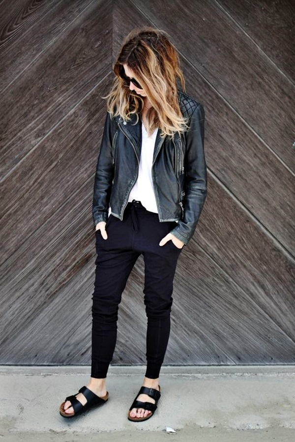 joggers pants and moto jackets