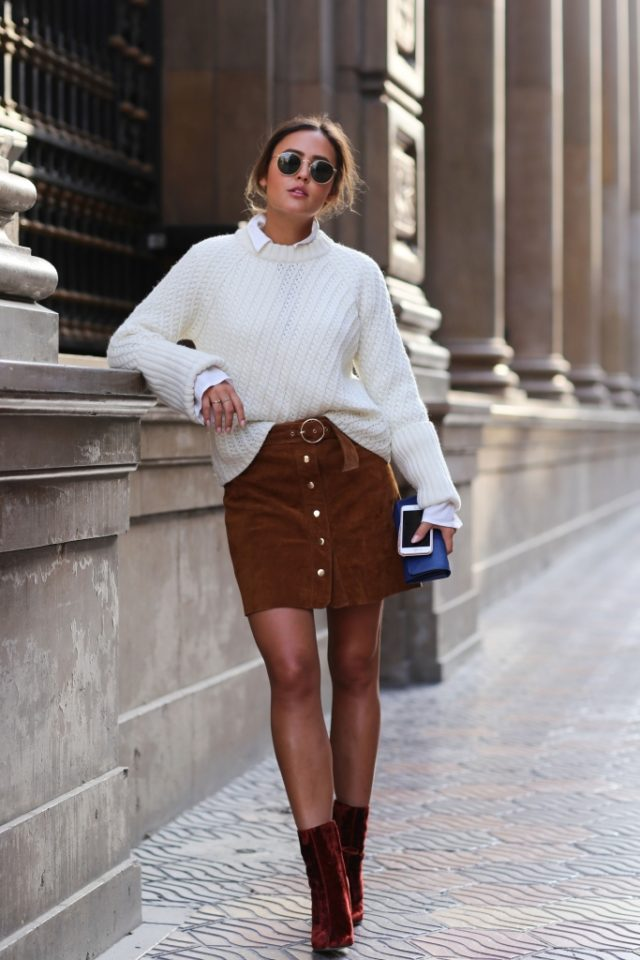 fisherman-sweater-velvet-booties-fall-work-outfit-button-front-skirt-mini-skirt-for-work-
