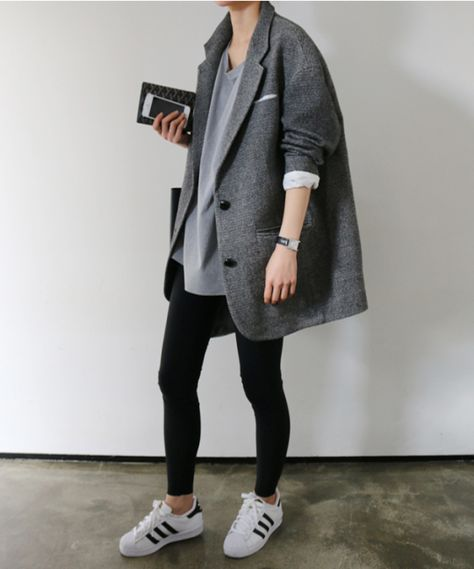 leggings-as-pants-boyfriend-blazer-blazer-coat-grey-and-black-adidas-sneakers-