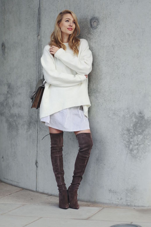 over-the-knee-boots-fall-layers-oversized-sweater-shirt-dress-summer-to-fall-transitional-dressing-summer-dresses-in-fall-white-after-labor-day-boyfriend-sweater-fall-work-outfit-