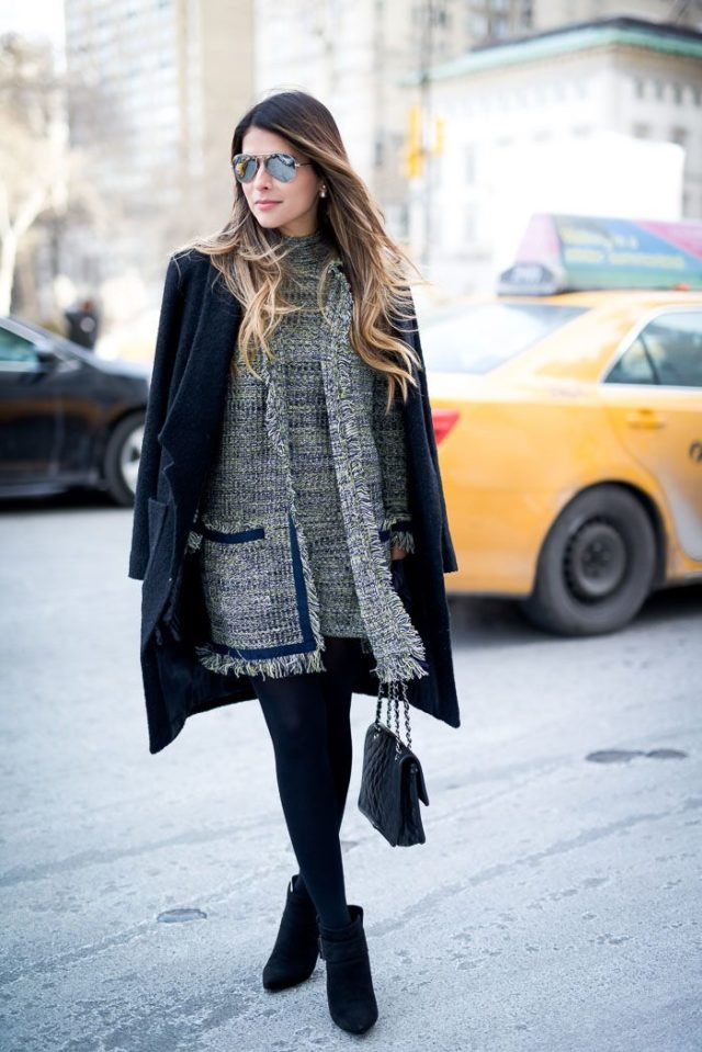 tweed-coat-dress-winter-work-outfit-black-tights-coat-on-shoulders-booties-shower-party-office-to-out-the-