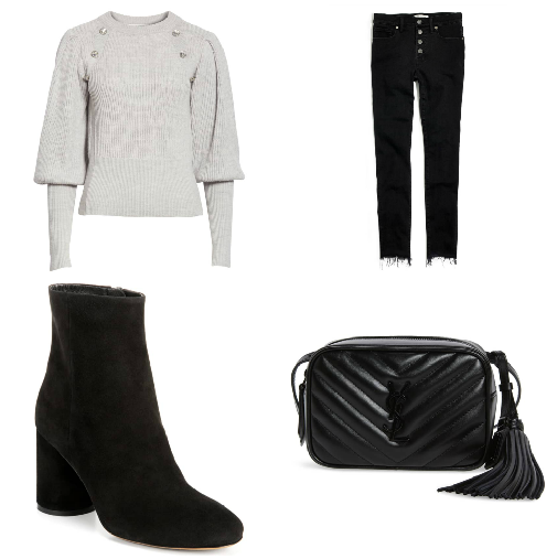 521528689c Embellished Puff Sleeve Sweater + Black Jeans + Black Booties + Mini  Crossbody Bag